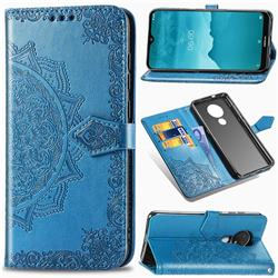 Embossing Imprint Mandala Flower Leather Wallet Case for Nokia 7.2 - Blue