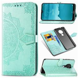 Embossing Imprint Mandala Flower Leather Wallet Case for Nokia 7.2 - Green