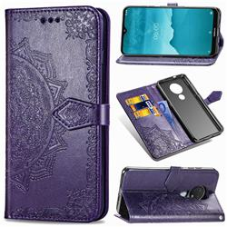 Embossing Imprint Mandala Flower Leather Wallet Case for Nokia 7.2 - Purple
