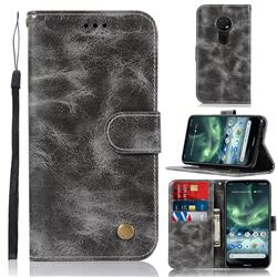 Luxury Retro Leather Wallet Case for Nokia 7.2 - Gray