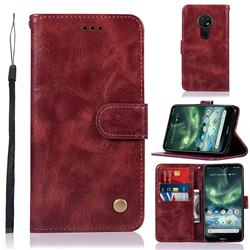 Luxury Retro Leather Wallet Case for Nokia 7.2 - Wine Red