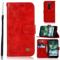 Luxury Retro Leather Wallet Case for Nokia 7.2 - Red