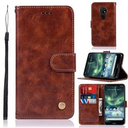 Luxury Retro Leather Wallet Case for Nokia 7.2 - Brown