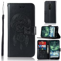 Intricate Embossing Owl Campanula Leather Wallet Case for Nokia 7.2 - Black