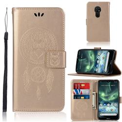 Intricate Embossing Owl Campanula Leather Wallet Case for Nokia 7.2 - Champagne