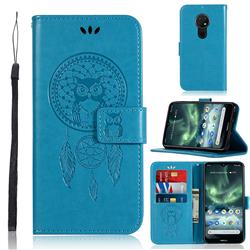 Intricate Embossing Owl Campanula Leather Wallet Case for Nokia 7.2 - Blue
