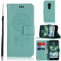 Intricate Embossing Owl Campanula Leather Wallet Case for Nokia 7.2 - Green