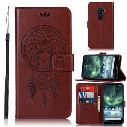 Intricate Embossing Owl Campanula Leather Wallet Case for Nokia 7.2 - Brown