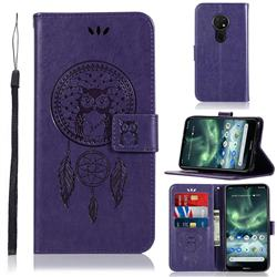 Intricate Embossing Owl Campanula Leather Wallet Case for Nokia 7.2 - Purple