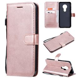 Retro Greek Classic Smooth PU Leather Wallet Phone Case for Nokia 7.2 - Rose Gold