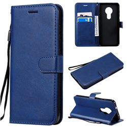 Retro Greek Classic Smooth PU Leather Wallet Phone Case for Nokia 7.2 - Blue