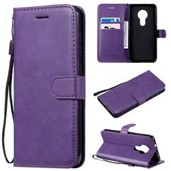 Retro Greek Classic Smooth PU Leather Wallet Phone Case for Nokia 7.2 - Purple