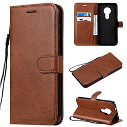 Retro Greek Classic Smooth PU Leather Wallet Phone Case for Nokia 7.2 - Brown