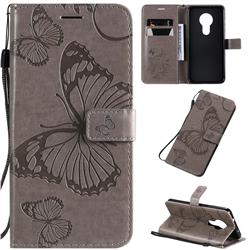Embossing 3D Butterfly Leather Wallet Case for Nokia 7.2 - Gray
