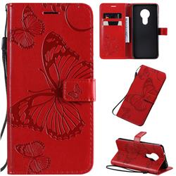 Embossing 3D Butterfly Leather Wallet Case for Nokia 7.2 - Red