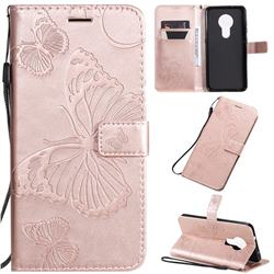 Embossing 3D Butterfly Leather Wallet Case for Nokia 7.2 - Rose Gold