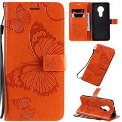 Embossing 3D Butterfly Leather Wallet Case for Nokia 7.2 - Orange
