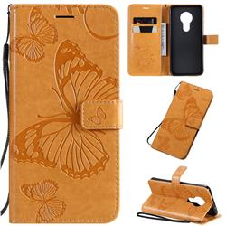 Embossing 3D Butterfly Leather Wallet Case for Nokia 7.2 - Yellow