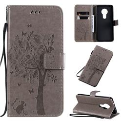 Embossing Butterfly Tree Leather Wallet Case for Nokia 7.2 - Grey