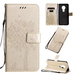 Embossing Butterfly Tree Leather Wallet Case for Nokia 7.2 - Champagne