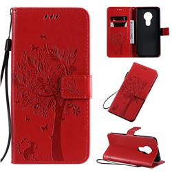Embossing Butterfly Tree Leather Wallet Case for Nokia 7.2 - Red