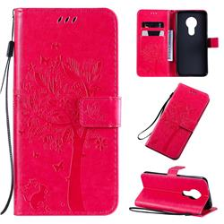 Embossing Butterfly Tree Leather Wallet Case for Nokia 7.2 - Rose