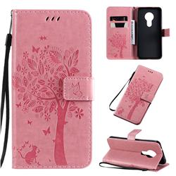 Embossing Butterfly Tree Leather Wallet Case for Nokia 7.2 - Pink