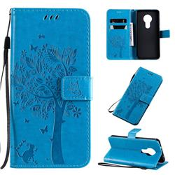 Embossing Butterfly Tree Leather Wallet Case for Nokia 7.2 - Blue