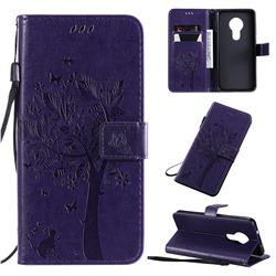 Embossing Butterfly Tree Leather Wallet Case for Nokia 7.2 - Purple