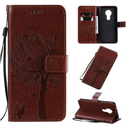 Embossing Butterfly Tree Leather Wallet Case for Nokia 7.2 - Coffee