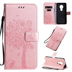 Embossing Butterfly Tree Leather Wallet Case for Nokia 7.2 - Rose Pink