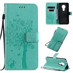 Embossing Butterfly Tree Leather Wallet Case for Nokia 7.2 - Cyan