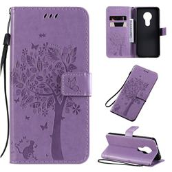 Embossing Butterfly Tree Leather Wallet Case for Nokia 7.2 - Violet