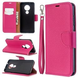 Classic Luxury Litchi Leather Phone Wallet Case for Nokia 7.2 - Rose