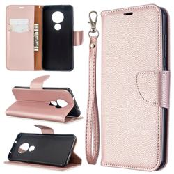 Classic Luxury Litchi Leather Phone Wallet Case for Nokia 7.2 - Golden