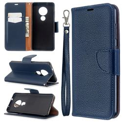 Classic Luxury Litchi Leather Phone Wallet Case for Nokia 7.2 - Blue