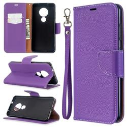 Classic Luxury Litchi Leather Phone Wallet Case for Nokia 7.2 - Purple