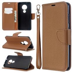 Classic Luxury Litchi Leather Phone Wallet Case for Nokia 7.2 - Brown