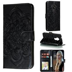 Intricate Embossing Datura Solar Leather Wallet Case for Nokia 7.2 - Black