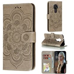 Intricate Embossing Datura Solar Leather Wallet Case for Nokia 7.2 - Gray