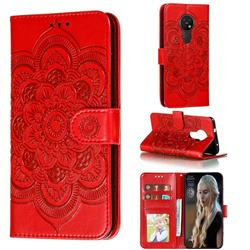Intricate Embossing Datura Solar Leather Wallet Case for Nokia 7.2 - Red