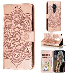 Intricate Embossing Datura Solar Leather Wallet Case for Nokia 7.2 - Rose Gold