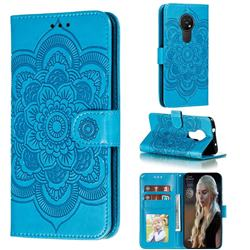 Intricate Embossing Datura Solar Leather Wallet Case for Nokia 7.2 - Blue