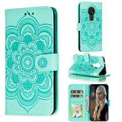 Intricate Embossing Datura Solar Leather Wallet Case for Nokia 7.2 - Green