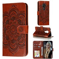 Intricate Embossing Datura Solar Leather Wallet Case for Nokia 7.2 - Brown
