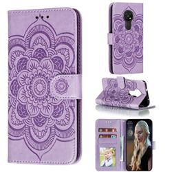 Intricate Embossing Datura Solar Leather Wallet Case for Nokia 7.2 - Purple