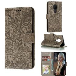 Intricate Embossing Lace Jasmine Flower Leather Wallet Case for Nokia 7.2 - Gray