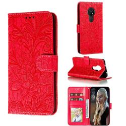 Intricate Embossing Lace Jasmine Flower Leather Wallet Case for Nokia 7.2 - Red