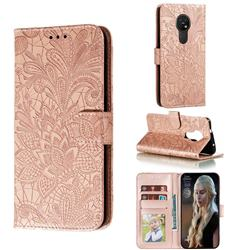 Intricate Embossing Lace Jasmine Flower Leather Wallet Case for Nokia 7.2 - Rose Gold