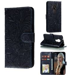 Intricate Embossing Lace Jasmine Flower Leather Wallet Case for Nokia 7.2 - Dark Blue